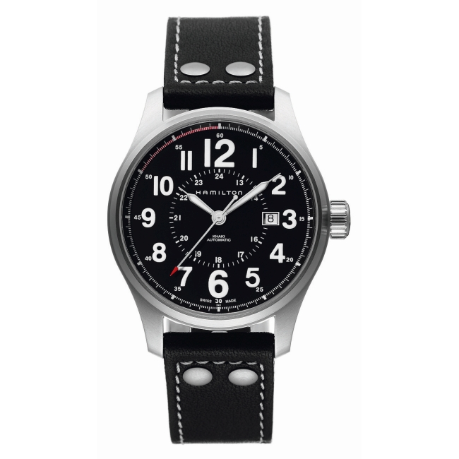 Hamilton KHAKI Field Officer Aytomatic Black Leather Strap H70615733